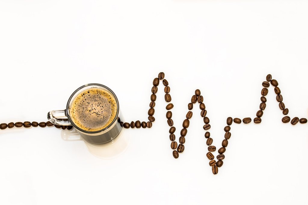 Coffee cup and a line of coffee beans depicting a lifeline