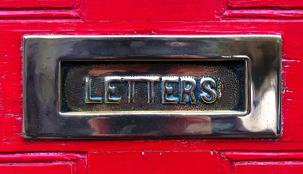A brass letterbox on a red door